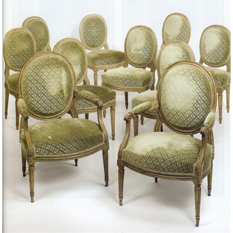 SET OF TEN LOUIS XVI PAINTED DINING CHAIRS, French, 18th century