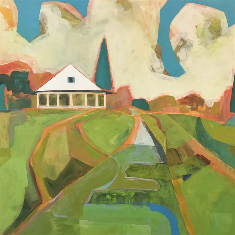 Farmhouse on a Hill with Aqua Shutters, 2020