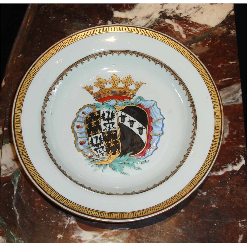 SET OF 11 ARMORIAL SOUP-PLATES FOR THE DUTCH MARKET WITH ARMS OF DE FAMARS AND VRIESEN , Chinese, circa 1752