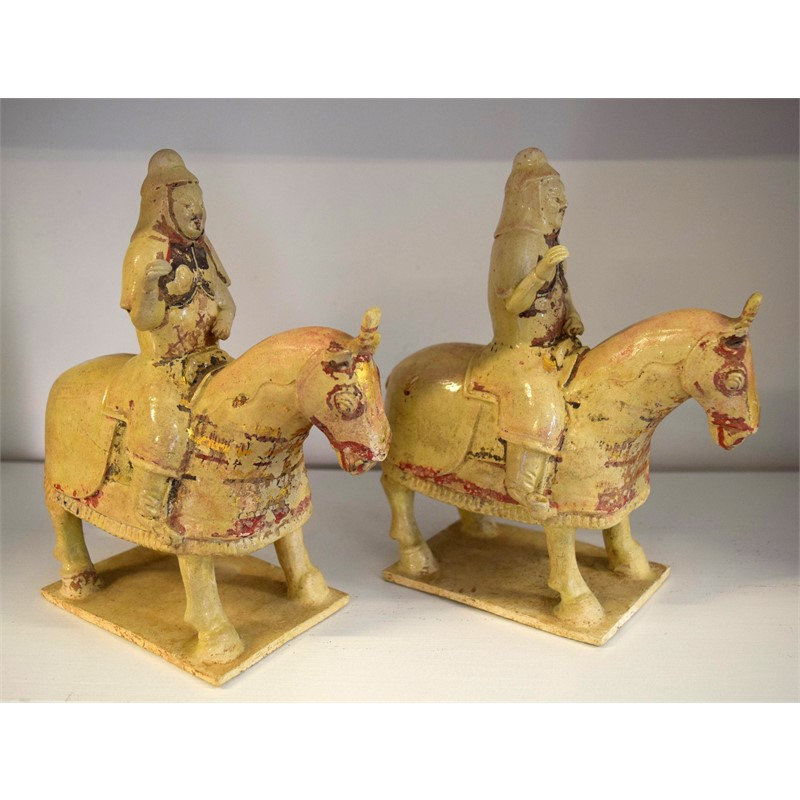 PAIR OF SMALL STRAW-GLAZED POTTERY of ARMORED EQUESTRIANS, Sui Dynasty (581-619 AD)
