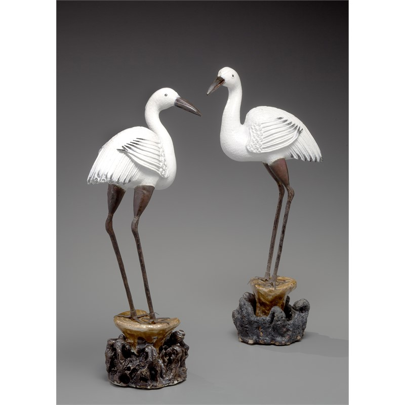 PAIR OF GLAZED CRANES, Chinese, Qing Dynasty, 19th century