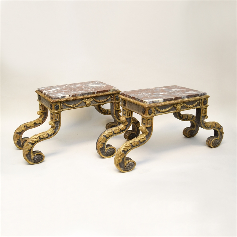 PAIR OF MARBLE TOP STANDS, Italian, 19th century