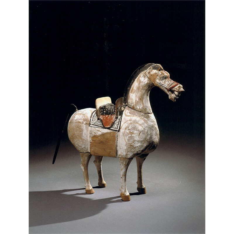POLYCHROME WOOD FIGURE OF A HORSE, Chinese, Han Dynasty (206-220)