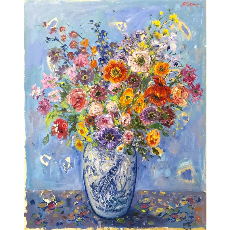 Bouquet on Blue Ground, Bird Vase