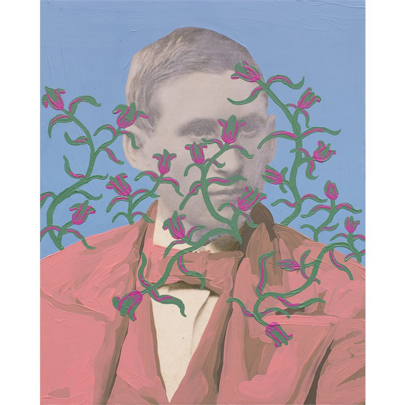 Untitled (Man with Silver Face and Green and Pink Pattern)