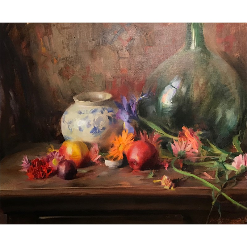 Still Life with Green Glass, Florals, and Fruit, 1994