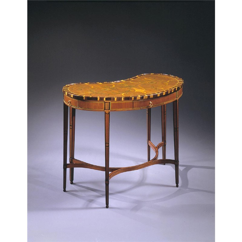 RUSSIAN FRUITWOOD MARQUETRY KIDNEY-SHAPED TABLE , Russian, circa 1780