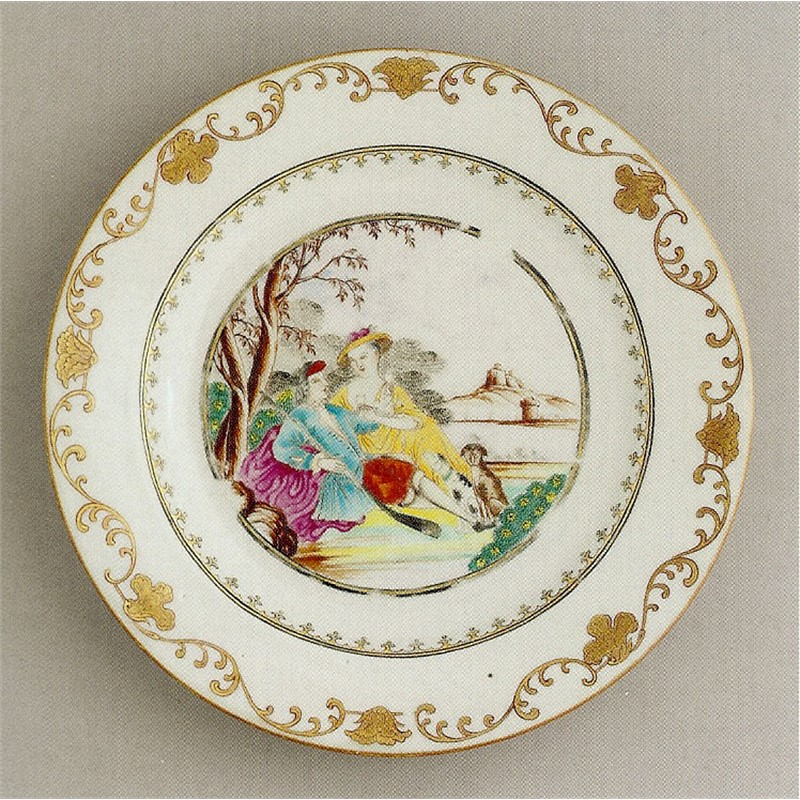 FAMILLE ROSE PLATE WITH MAN HOLDING GUN AND LADY WITH WINE GLASSES, Chinese, circa 1755