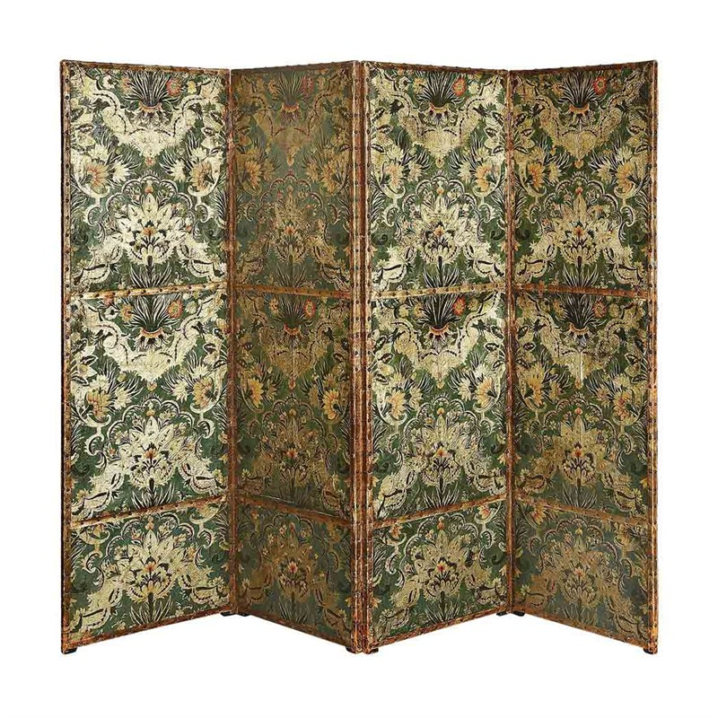 PAINTED LEATHER FOUR-PANEL SCREEN, Dutch, 17th century