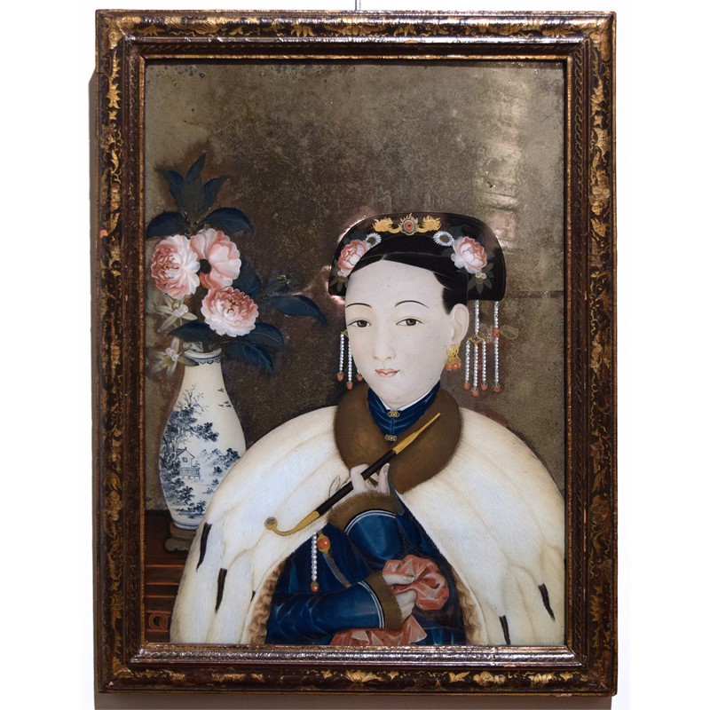 REVERSE PAINTING ON GLASS WITH LADY WITH PIPE, Chinese, circa 1760