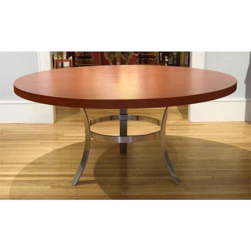 ALUMINUM AND LACQUERED TEXTILE DINING TABLE, American, 20th century