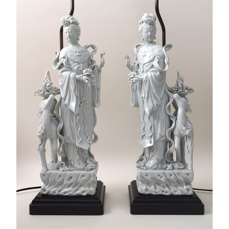 PAIR OF BLANC DE CHINE FIGURES OF GUAN YIN MOUNTED AS LAMPS, Chinese, Qing Dynasty, 19th century