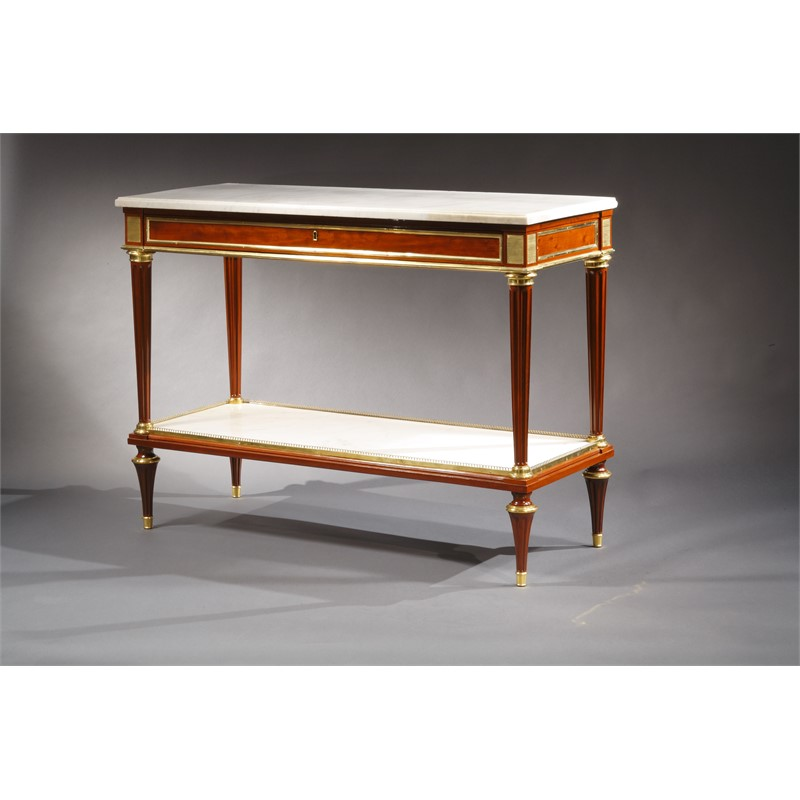 PAIR OF LOUIS XVI MAHOGANY MARBLE TOP CONSOLES ATTRIB. TO WEISWEILER, French, circa 1785