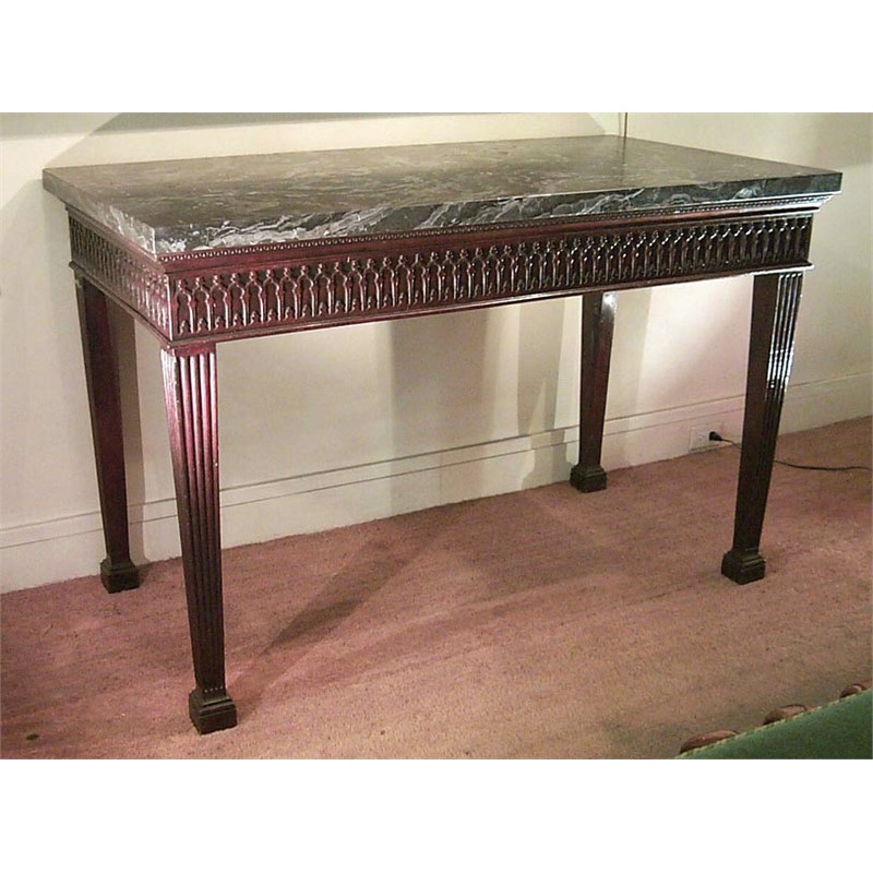 GEORGE III CHIPPENDALE GOTHIC STYLE CONSOLE TABLE WITH MARBLE TOP, English, circa 1770