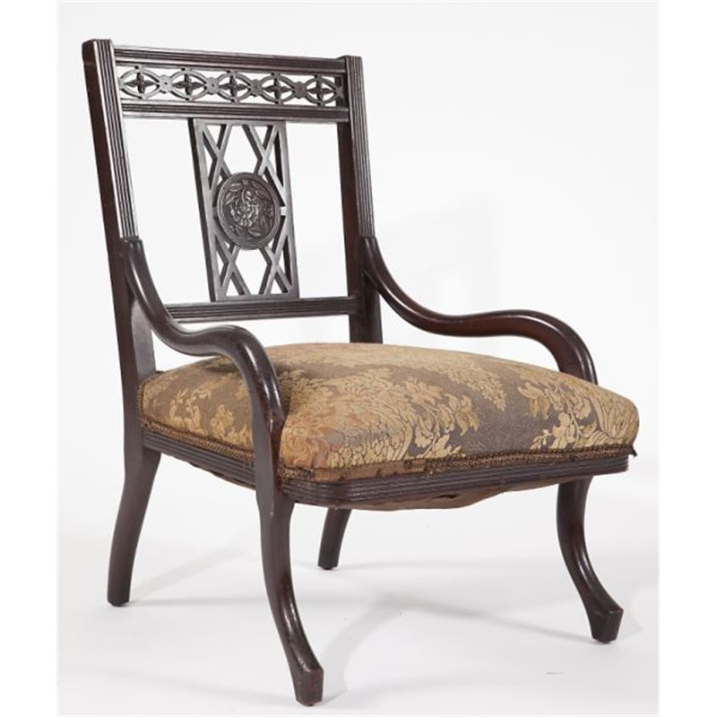 ARTS AND CRAFTS MAHOGANY SLIPPER CHAIR, English, early 20th century