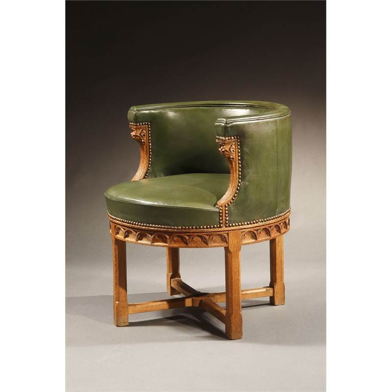 OAK DESK CHAIR, English, circa 1870