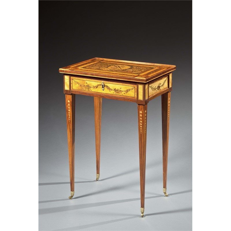 LOUIS XVI ORMOLU MOUNTED MARQUETRY TABLE A ECRIRE ATTRIB. TO HAUPT, Swedish, circa 1780