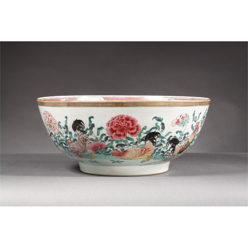 SUPERB EXPORT FAMILLE-ROSE PUNCH BOWL WITH COCKERELS AND PEONIES, Chinese, circa 1735-40