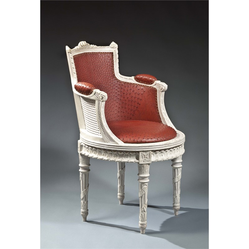 LOUIS XVI FAUTEUIL DE BUREAU WITH OSTRICH LEATHER UPHOLSTERY, French, circa 1775