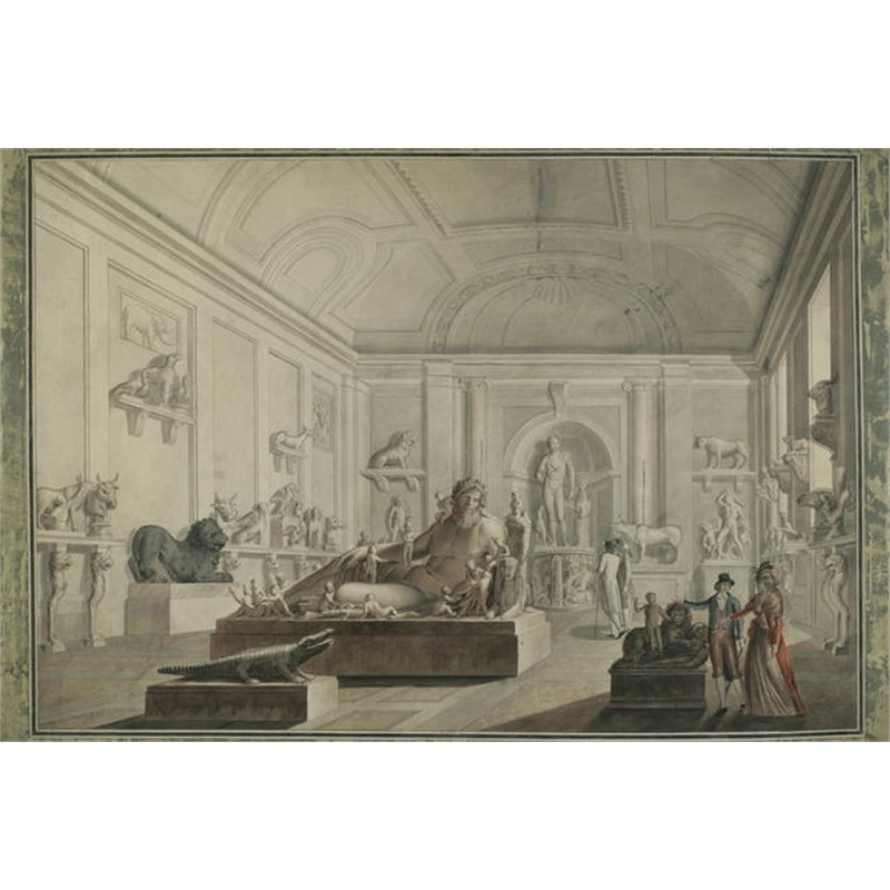 SET OF FOUR DRAWINGS IN THE MANNER OF DUCROS-VIEWS OF THE VATICAN MUSEUM, Italian, circa 1800
