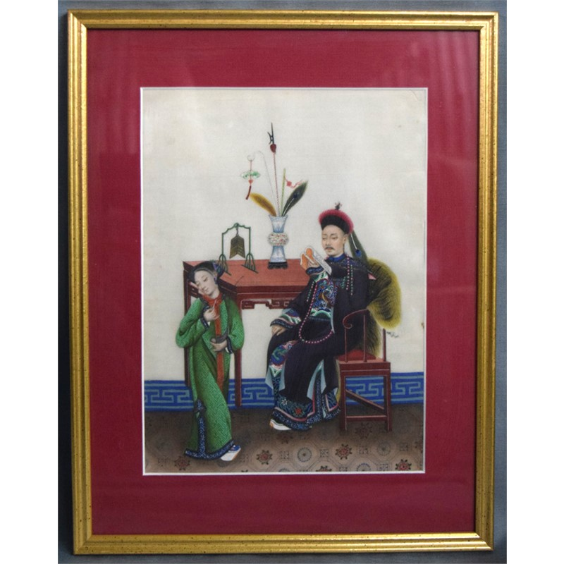 PAIR OF GOUACHES WITH CHINESE FIGURES IN INTERIOR, 19th century