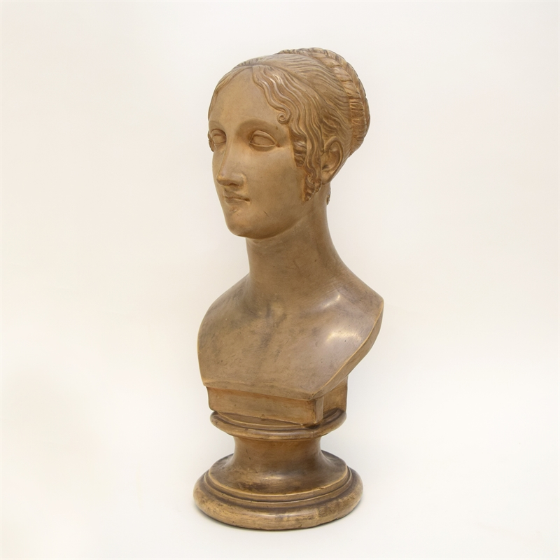 PATINATED PLASTER BUST OF A LADY, Continental, 19th century