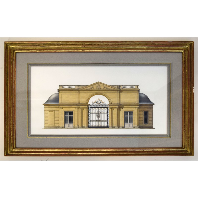 TWO ARCHITECTURAL WATERCOLORS: PAVILION AND BELVEDERE AT SCEAUX , German/American, circa 1997