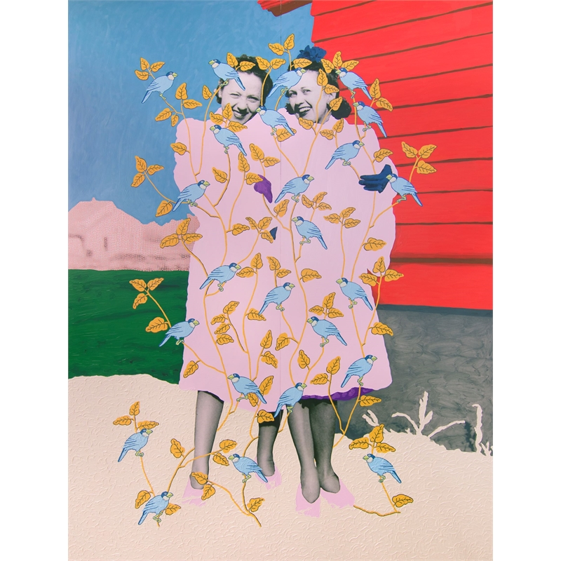 Untitled (Sisters in Fur Coats with Birds) by Daisy Patton