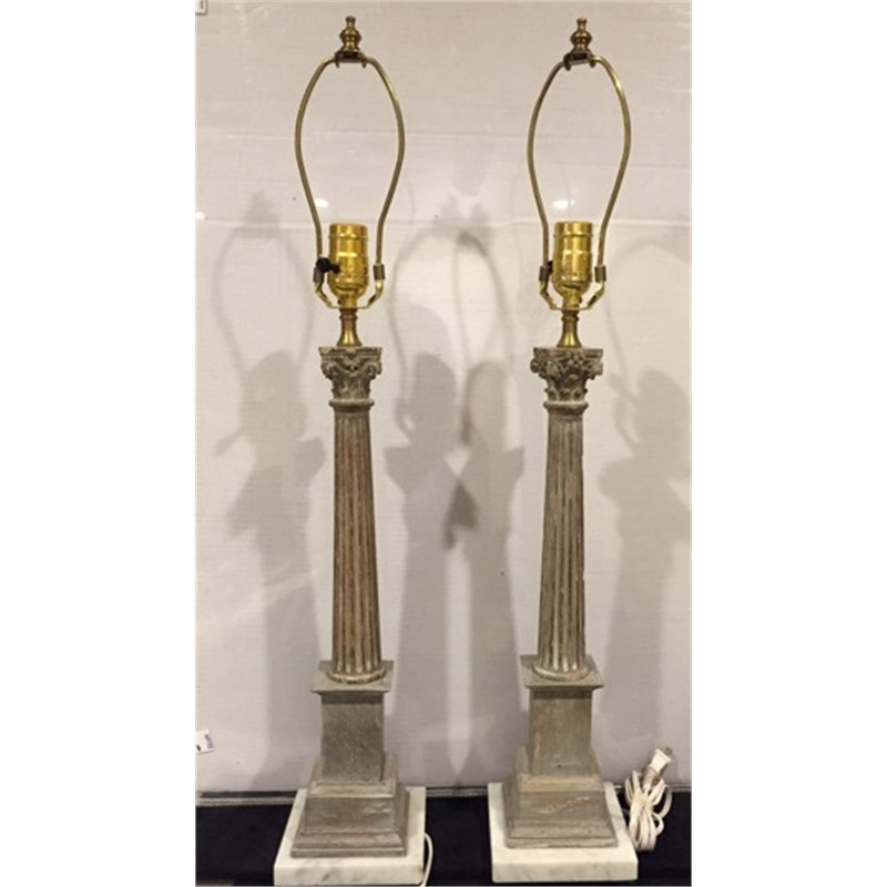 PAIR LIMED WOOD AND MARBLE CORINTHIAN COLUMN LAMPS, Continental, 20th century