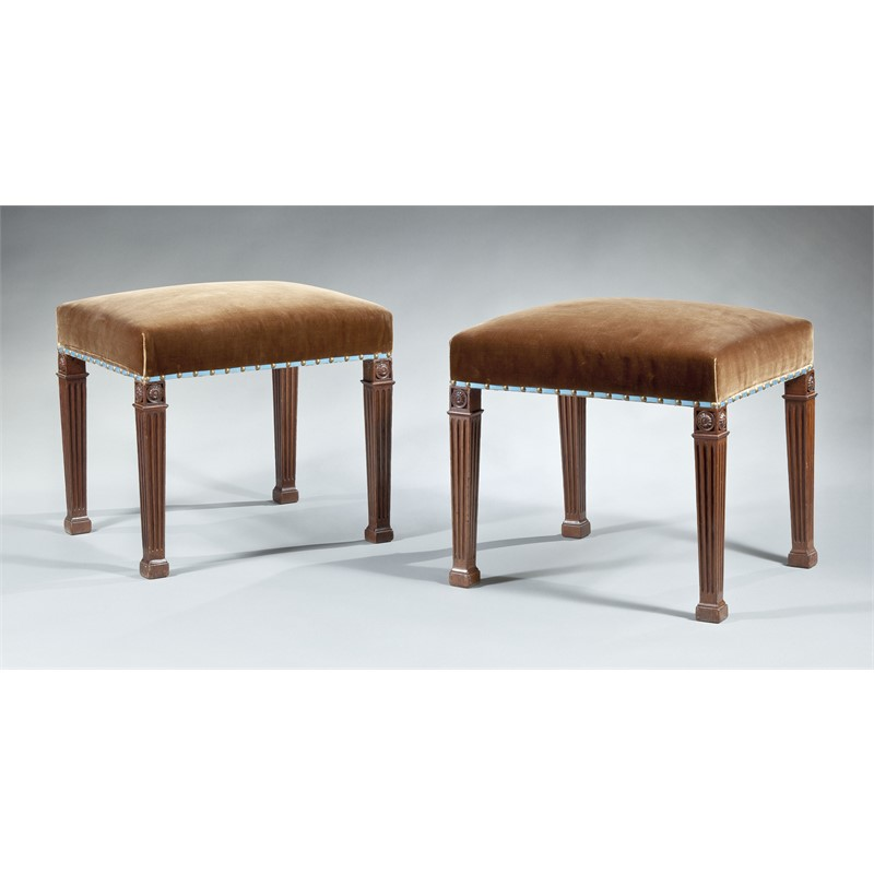 PAIR OF GEORGE III MAHOGANY STOOLS ATTRIB. TO CHIPPENDALE, English, circa 1780
