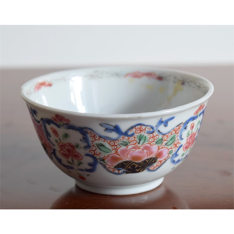 A LARGER FR TEABOWL AND SAUCER WITH PINK PEONIES AND PURPLE VINES, Qianlong Period (1736-1795)