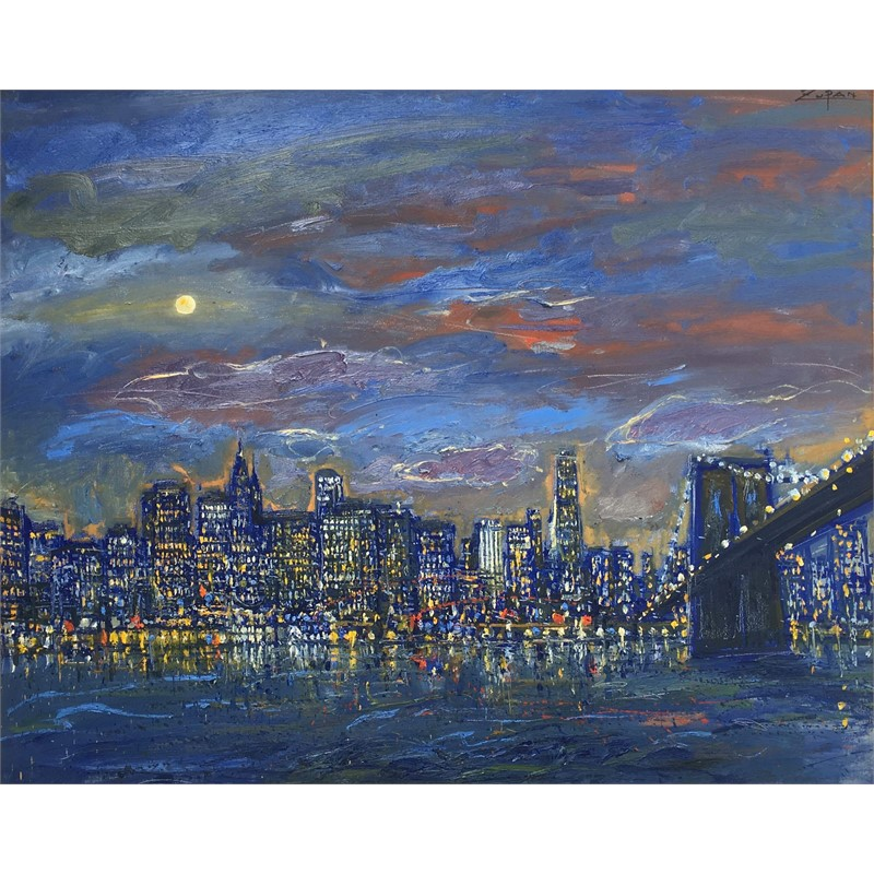 Moonlight Over Brooklyn Bridge