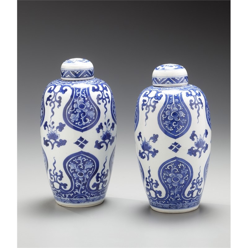 PAIR OF BLUE AND WHITE OVOID JARS AND COVERS , Kangxi period (1662-1722)