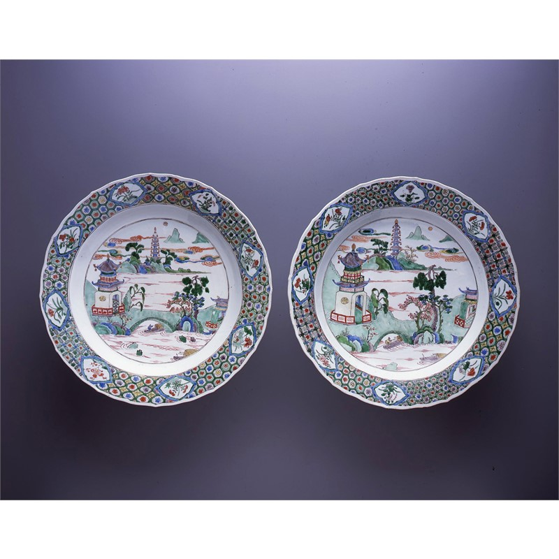 PAIR OF FAMILLE VERTE DISHES WITH RIVER LANDSCAPES, Chinese, Kangxi Period (1662-1722)