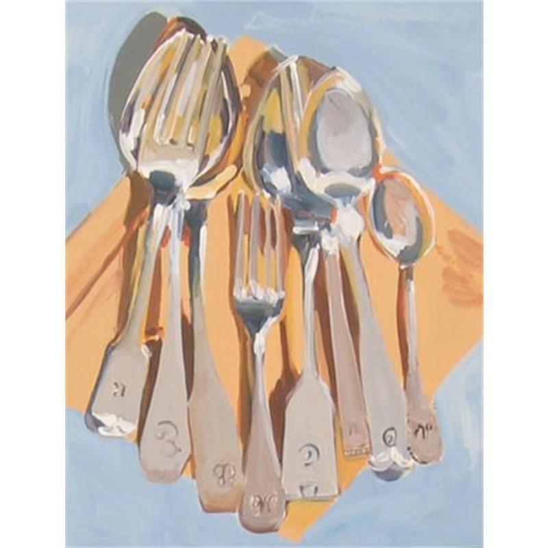 Cutlery On Yellow Ochre Napkin