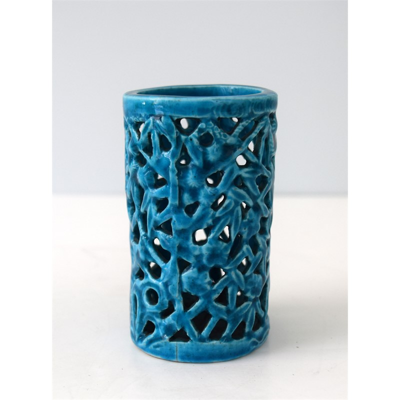 SMALL TURQUOISE BAMBOO FORM BRUSHPOT, Qing Dynasty, Kangxi period (1662-1722)