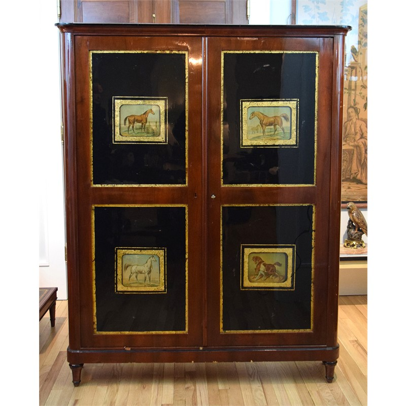 CONSULATE PERIOD MAHOGANY CABINETVERRE EGLOMISE PANELS , French, early 19th century