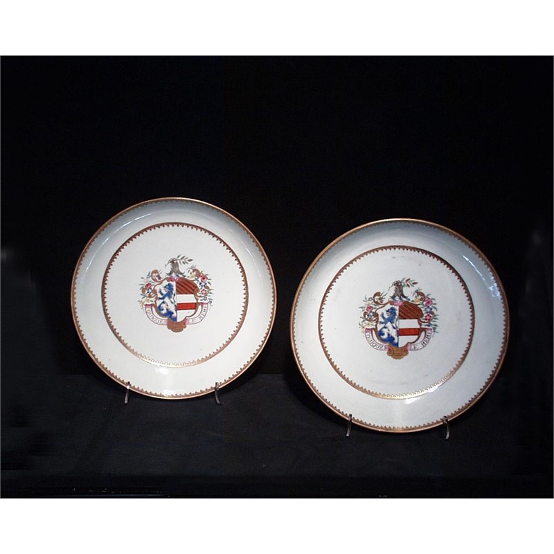 PAIR OF ARMORIAL SAUCER DISHES, ARMS OF GILES IMP. DESPAYNE