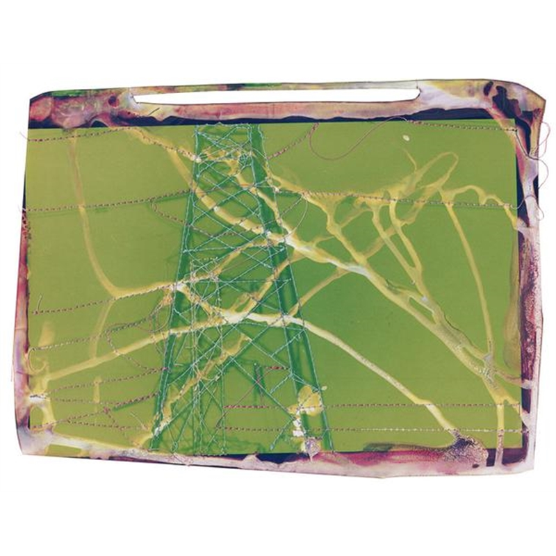 Untitled (Green landscape with pink powerlines) by Andrew Thompson