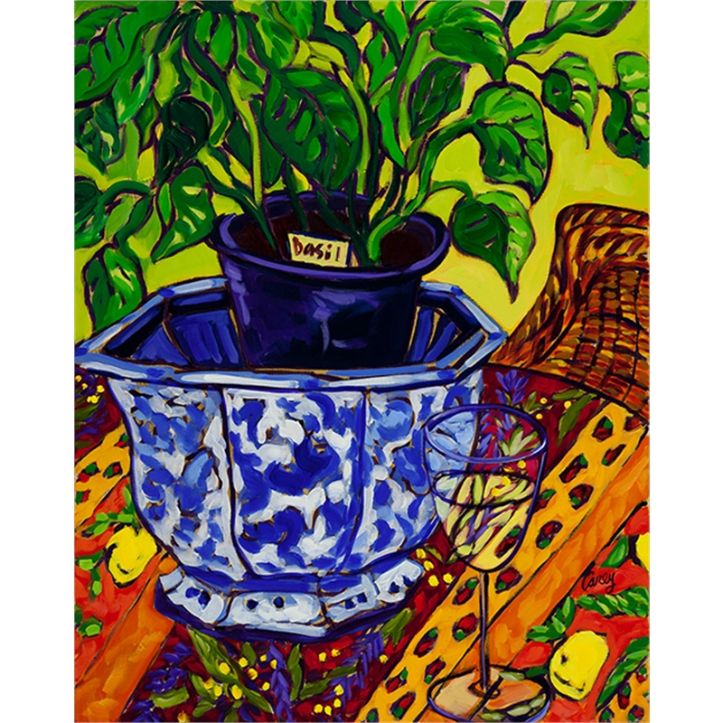 Basil in a Blue Bowl