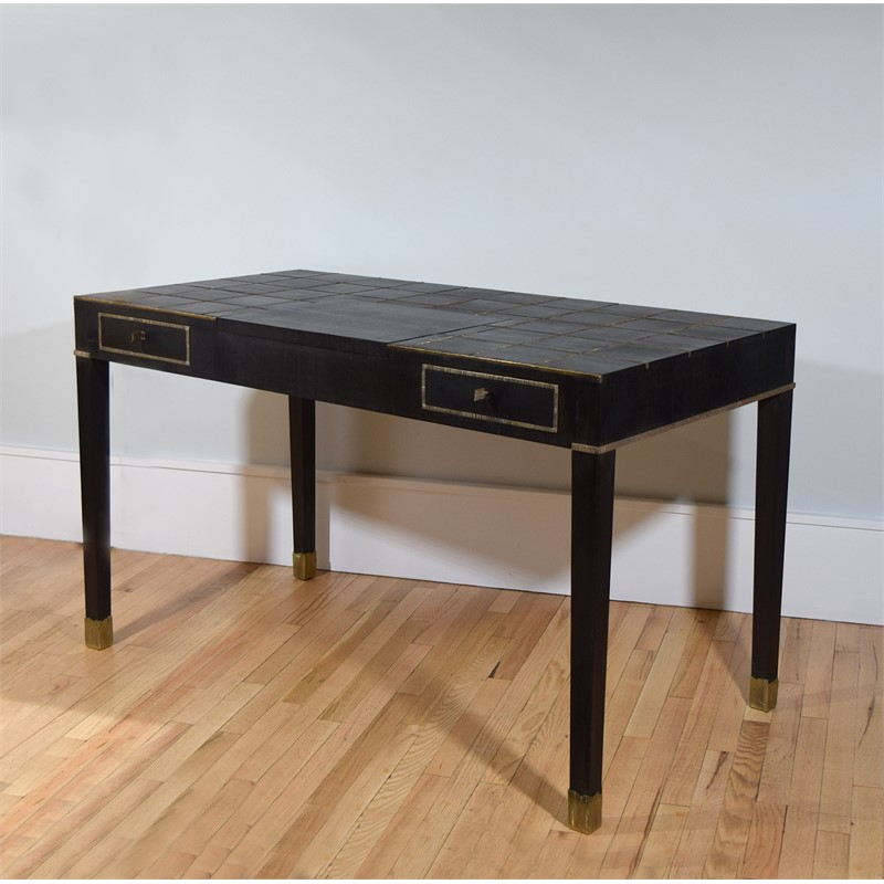 PATINATED-BRONZE INLAID EBONY DESK, French, 1990s