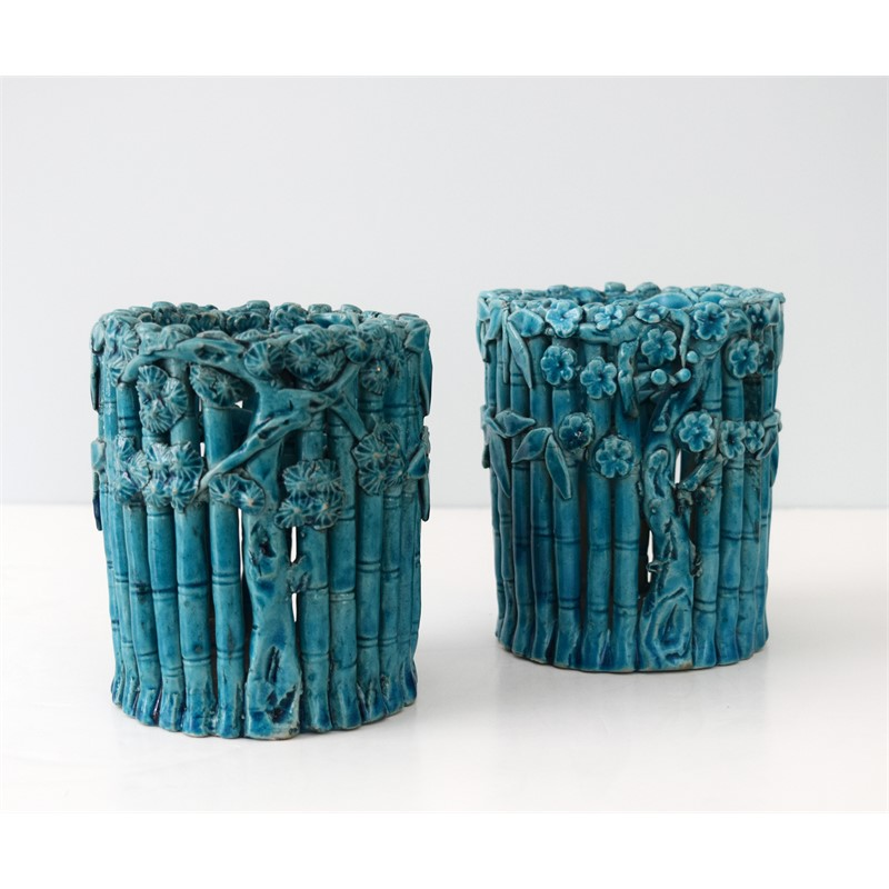 PAIR OF CHINESE TURQUOISE GLAZED BAMBOO BRUSHPOTS, Chinese, Kangxi Period (1662-1722)