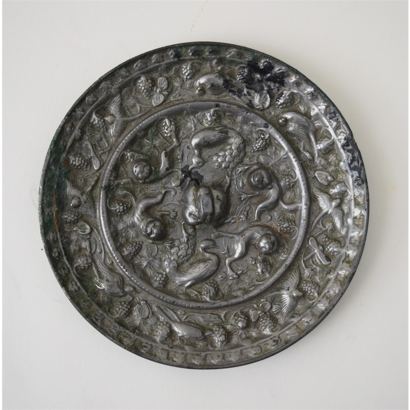 RARE CHINESE SILVERED BRONZE MIRROR, Chinese, Tang Dynasty (618-907)