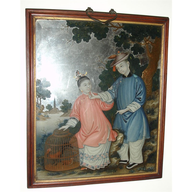 CHINESE REVERSE PAINTING ON GLASS WITH A COUPLE AND COCKERELS IN CAGE, Chinese, 18th century