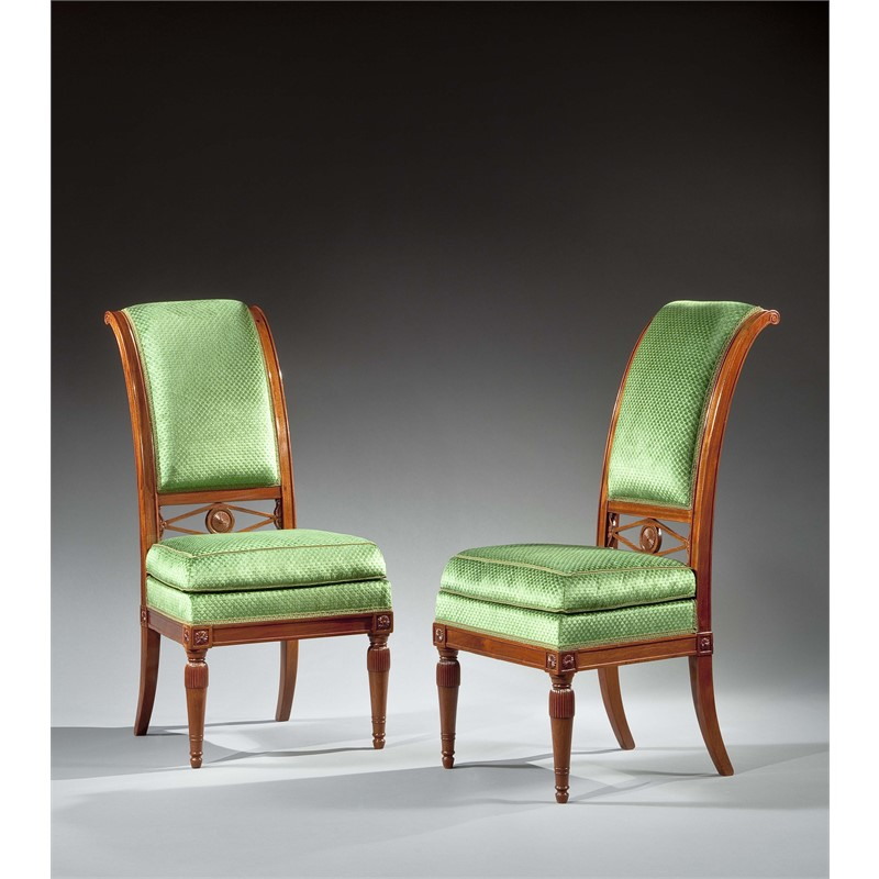 PAIR OF LOUIS XVI CHAIRS WITH CURVED AND FLUTED BACKS, French, circa 1790