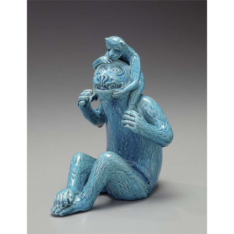TURQUOISE MONKEY WITH YOUNG, Chinese, 19th century