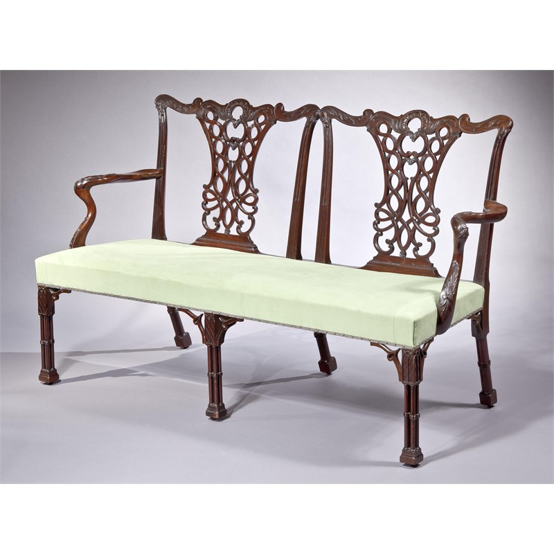 CHIPPENDALE MAHOGANY TWO-CHAIR SETTEE, English, 18th century