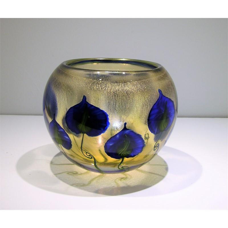 Sunset Bowl w/ Blue Cobalt Anthuriums
