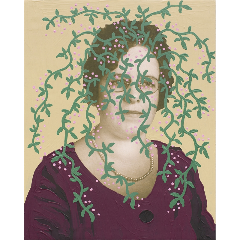 Untitled (Woman with Green Vines and Cream Background) by Daisy Patton