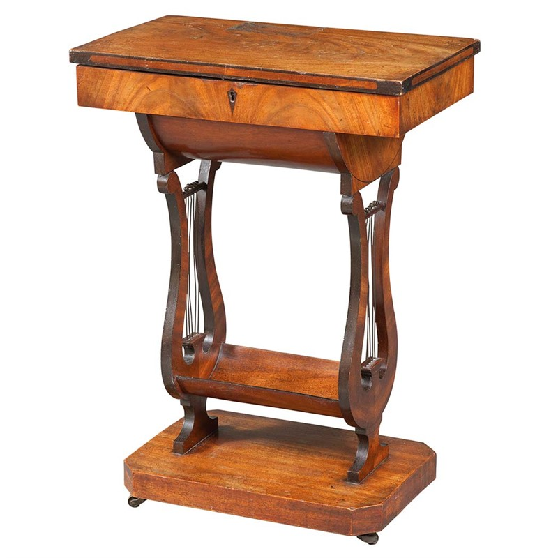 BIEDERMEIER WALNUT WORK TABLE, Austrian, 19th century